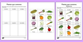 Ficha de actividad Las plantas que comemos - comida, dieta, saludable, orígen