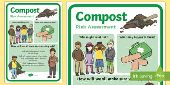 CfE Outdoor Learning Compost Risk Assessment A4 Display Poster - CfE Outdoor Learning, nature, forest, woodland, playground, health and safety, risk assessment, insp