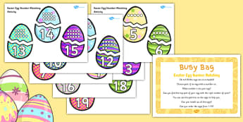 Easter Egg Number Matching Busy Bag Prompt Card and Resource Pack - Easter Number
