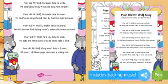 Poor Old Mr Wolf Song - Mr Wolf's Pancakes, pancake day, Jan Fearnley, singing, song time