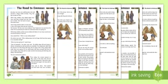 KS2 The Road to Emmaus Differentiated Fact File - reading comprehension, reading, religion, religious education, Christianity, Christian, bible story,
