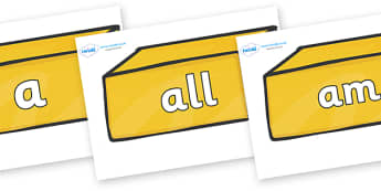 Foundation Stage 2 Keywords on Gold Bars - FS2, CLL, keywords, Communication language and literacy,  Display, Key words, high frequency words, foundation stage literacy, DfES Letters and Sounds, Letters and Sounds, spelling
