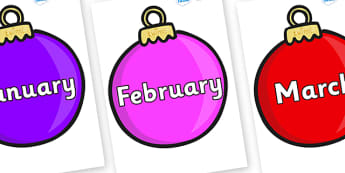 Months of the Year on Baubles (Plain) - Months of the Year, Months poster, Months display, display, poster, frieze, Months, month, January, February, March, April, May, June, July, August, September