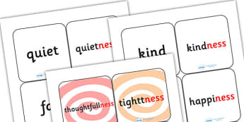 Suffix Matching Cards ness - suffixes, suffix, suffix matching cards, prefixes and suffixes, suffix ness, suffix game, suffix activity, words ending in ness