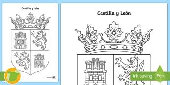 Hoja de colorear: El escudo de Castilla y León - Mapas, provinicias, mapas mudos, mapas en blanco, las ciudades de españa, comarcas, concejos, comun