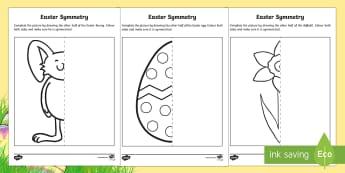 Easter Symmetry Activity Sheet - CfE Early Level, Easter Themed, Maths Activities, symmetry, easter maths, symmetrical, easter eggs,
