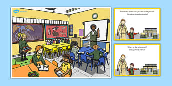 School Scene and Question Cards Polish Translation - polish, school scene, question, cards