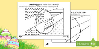 Easter Egg Art Activity Sheet English/Romanian - easter, easter eggs, colouring, eal, romania, translated