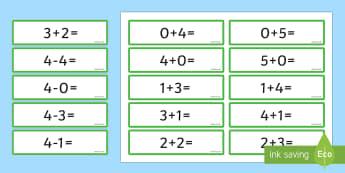 Number Bonds 4 and 5 Sentence Cards - number bonds, 4, 5, cards