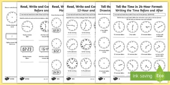 Year 5 Tell and Write the Time Differentiated Activity Sheets - 12-hour, 24-hour, 24 hour time, clock, telling the time, analogue, digital,time problems, convert ti
