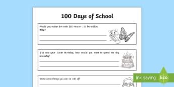 100 Days of School Activity Sheet - 100 Days of School, activities, booklet, KS2