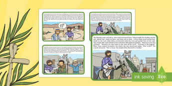 Palm Sunday Story Sequencing Cards - palm sunday, easter, easter story, easter ks2, story sequencing cards, festivals, ks2 re, ks2 christ