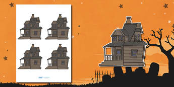 Editable Halloween Haunted House (Small) - Editable Halloween Haunted House, haunted house, small, display, poster, Halloween, pumpkin, witch, bat, scary, black cat, mummy, grave stone, cauldron, broomstick, haunted house, potion, Hallowe'en