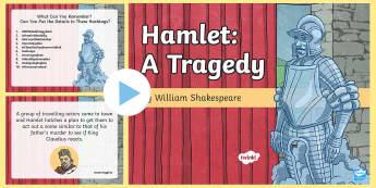 Shakespeare's Hamlet PowerPoint - William Shakespeare, Hamlet, tragedy, gertrude, claudius, king, ghost, fortinbras, denmark, laertes,