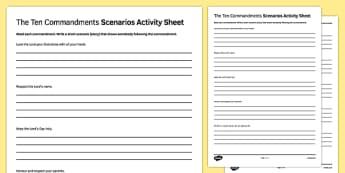 Ten Commandments Scenarios Activity Sheet - RE, Jesus, Bible, Moses, worksheet