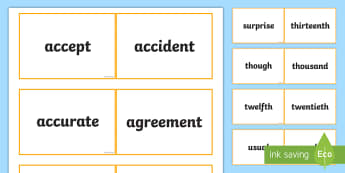 Lanyard Sized Australia Year Five Core Word Cards - Australian Curriculum, English, Language, Literacy, KS2, Year 5, Year 6, ACELA1829, language, spelli