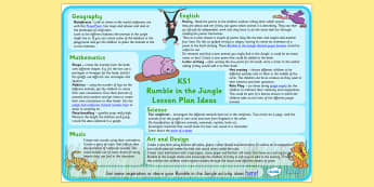 Lesson Plan Ideas KS1 to Support Teaching on Rumble in the Jungle - rumble in the jungle, rumble in the jungle lesson ideas, rumble in the jungle lesson plan, lesson plan, MPT