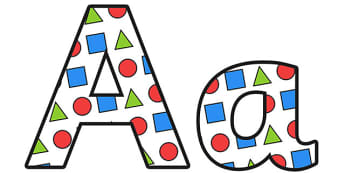 Shapes Display Lettering Small - shapes lettering, shapes, shapes display, shape themed display lettering, shape themed alphabet, shape themed a-z letters