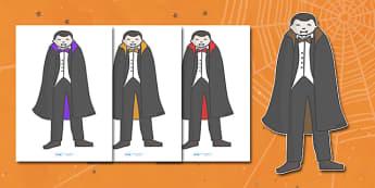 Editable Halloween Vampires (A4) - Editable Halloween Vampires, vampire, A4, display, poster, Halloween, pumpkin, witch, bat, scary, black cat, mummy, grave stone, cauldron, broomstick, haunted house, potion, Hallowe'en