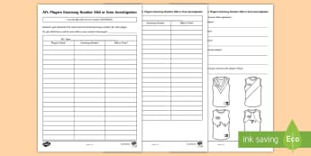 AFL Players Guernsey Number Odd or Even Investigation Activity Sheet - ACMNA051, odd, even Odd or even, number investigation, AFL, AFL maths, worksheet, odd numbers, even