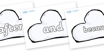 Connectives on Weather Symbols (Cloud) - Connectives, VCOP, connective resources, connectives display words, connective displays