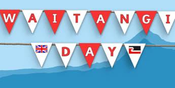 Waitangi Day Bunting - new zealand, nz, waitangi day, treaty, bunting, display