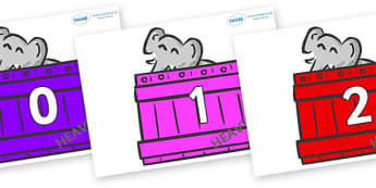 Numbers 0-31 on Elephants (Crates) to Support Teaching on Dear Zoo - 0-31, foundation stage numeracy, Number recognition, Number flashcards, counting, number frieze, Display numbers, number posters