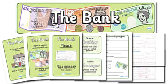 Bank Role Play Pack - Bank Role Play, banking, bank resources, Role Play Pack - role play, Display signs, display, labels, packmoney, euros, pounds, cheque book, till, cash, bank manager, cash mashine, role play, display, poster