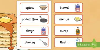 Rysait Diwrnod Crempog Cardiau Fflach Geiriau - Pancake Day, Diwrnod Crempog, menyn, butter, blawd, flour, syrop, surop, sugar, siwgr, batter, cymys, dydd , ddydd, ddiwrnod