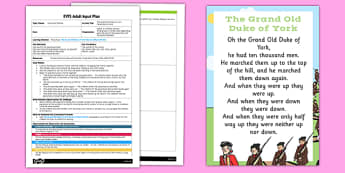 The Grand Old Duke of York Parachute Activity EYFS Adult Input Plan and Resource Pack - rhyme, PE, physical education, parachute games