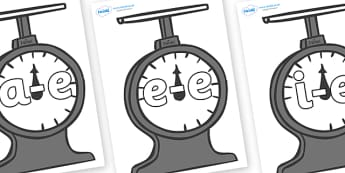 Modifying E Letters on Weighing Scales - Modifying E, letters, modify, Phase 5, Phase five, alternative spellings for phonemes, DfES letters and Sounds