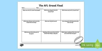 AFL Grand Final Writing Activity Sheet-Australia, worksheet