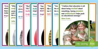 Australian Inspirational Quotes Display Posters -  Cathy Freeman, Sir Donald Bradman, Dawn Fraser, Hugh Jackman, Professor Fiona Wood, Anh Do, Bryce C
