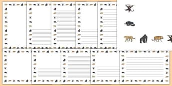 Jungle Page Borders (A4) - jungle, rain forest, page border, border, writing template, writing aid, writing, tiger, snake, monkey, trees