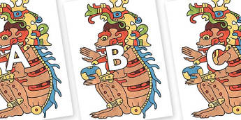 A-Z Alphabet on Ah Puch - A-Z, A4, display, Alphabet frieze, Display letters, Letter posters, A-Z letters, Alphabet flashcards