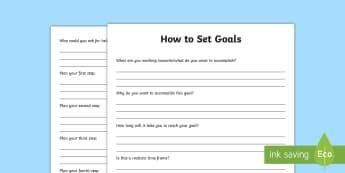 How to Set Goals Activity - Assessments and Evaluations, goal, setting goals, targets, achievements, growth mindset