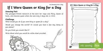 If I Were Queen or King for a Day Activity Sheet - Amazing Fact Of The Day, activity sheets, powerpoint, starter, morning activity, March, king, queen,