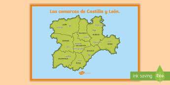 Póster DIN A2: Las comarcas de Castilla y León   - Mapas, provinicias, mapas mudos, mapas en blanco, las ciudades de españa, comarcas, concejos, comun