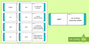Homophones Question Matching Cards  - Homophones Question Matching Cards - homophones, question, matching, cards, homonophones year 4, hom
