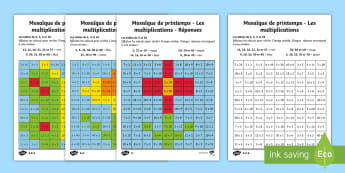 Feuilles d'activités différenciées : Mosaiques de printemps - Les multiplications - Multiplications, mathématiques, maths, calculs, nombre, numbers, tables, times tables, cycle 2, cyc