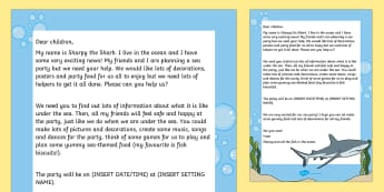 Editable Under the Sea Party Letter - EYFS, roleplay, invitation, shark, fish, water, topic, hook, topic starter