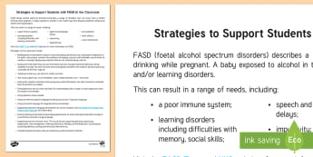 Strategies to Support FASD in the Classroom Adult Guidance - FAS, foetal alcohol syndrome, fetal alcohol syndrome, fetal alcohol spectrum disorders