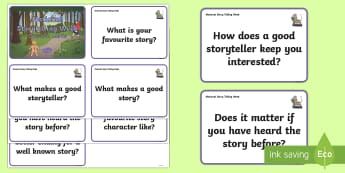 KS1 National Storytelling Week Question Cards - National Storytelling Week, KS1 National storytelling week, question cards, stimulus cards, conversa