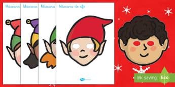 Máscaras de juego: Elfos navideños - juego simbólico, juego de rol, imaginiación, imaginativo, navidad, navideño,Spanish - juego simbólico, juego de rol, imaginiación, imaginativo, navidad, navideño,Spanish