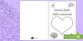 Festa della mamma colora con le dita Biglietto d'Auguri - festa, della, mamma, colora, colorare, con, le, dita, impronte, italiano, italian, biglietto, materi