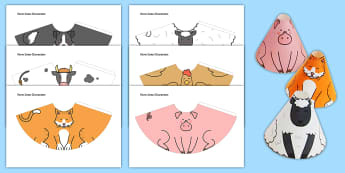 Farm Animal Cone Characters - farm, animal, cone, character