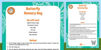 Butterfly Sensory Bag - Butterfly Life Cycle egg caterpillar chrysalis EYFS