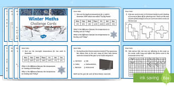 Y5 Winter Themed Maths Challenge Cards - Winter 2016/17, maths challenge cards, winter maths, problem solving, real life, fractions, shapes