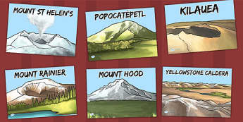 North America Volcanoes Display Posters - geography, volcano