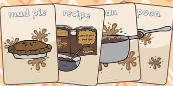 Mud Pie Role Play Posters - mud pie, role play, posters, display